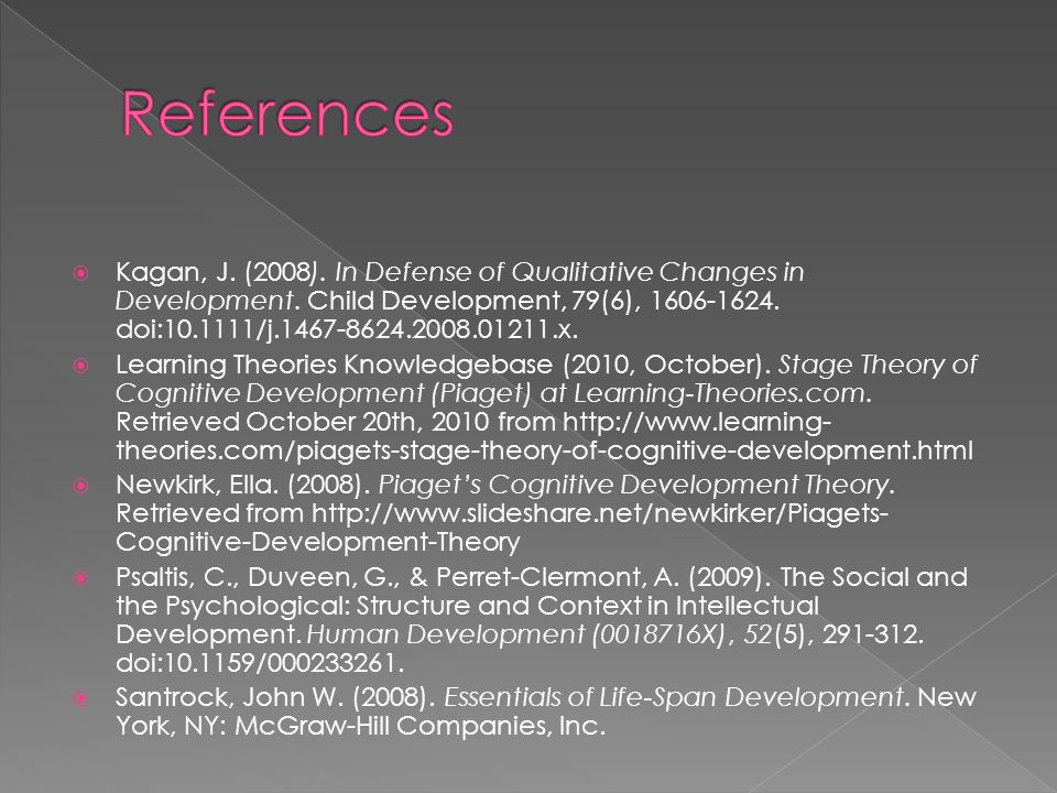  Kagan, J. (2008). In Defense of Qualitative Changes in Development. Child Development, 79(6), 1606-1624. doi:10.1111/j.1467-8624.2008.01211.x.  Lea