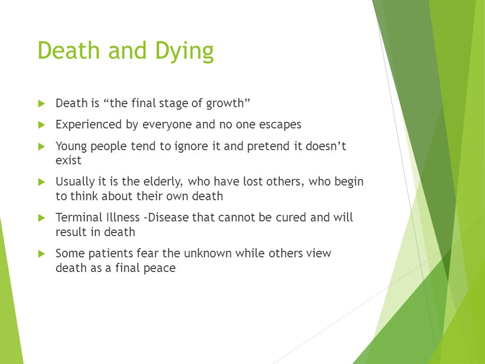 "Death and Dying  Death is ""the final stage of growth""  Experienced by everyone and no one escapes  Young people tend to ignore it and pretend it do"
