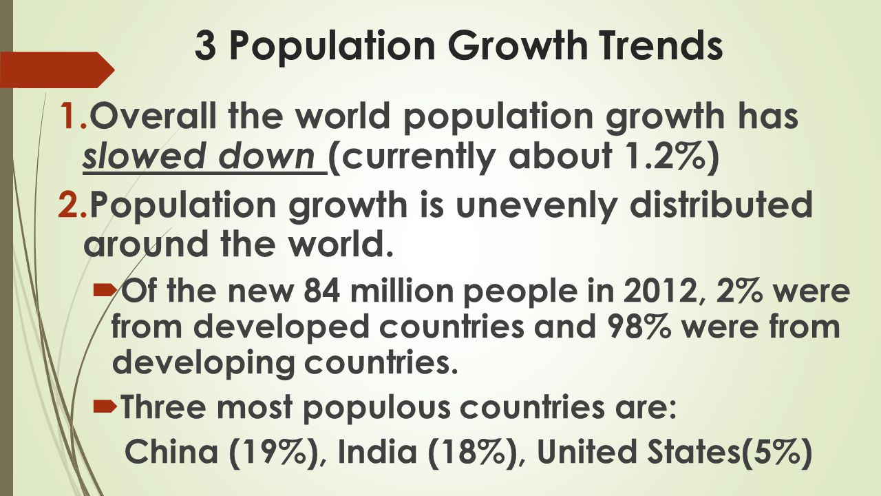 3 Population Growth Trends 3.People are moving from rural to urban areas.