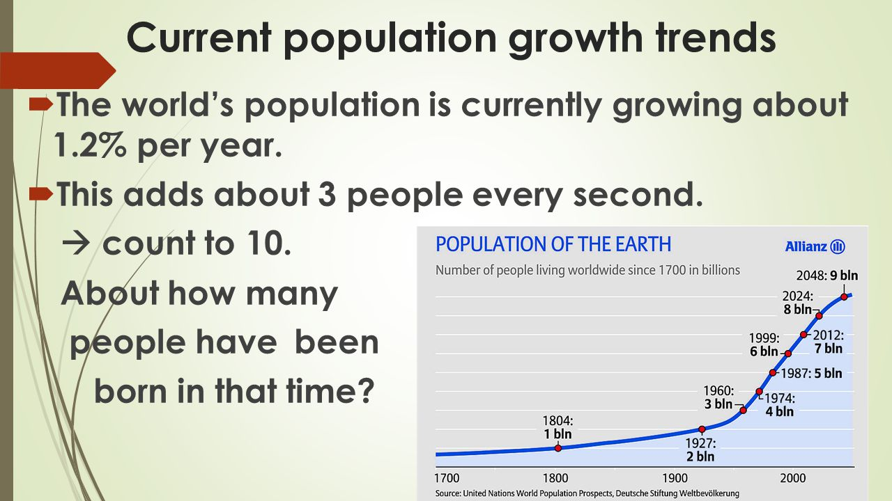 1.If the population was at 50,0000 and grew at a rate of 1.2% per year, what would the population be the following year.