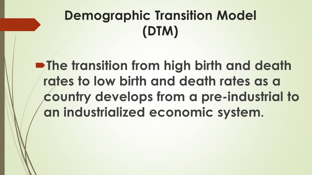 Four Stages of Demographic Transition  Stage 1 – Pre-modern or pre-industrialization – High birth and high death rates.