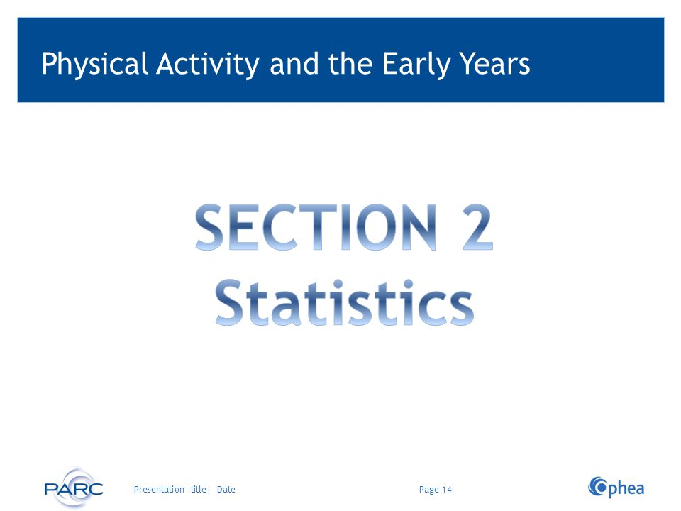 Physical Activity and the Early Years Page 14Presentation title| Date