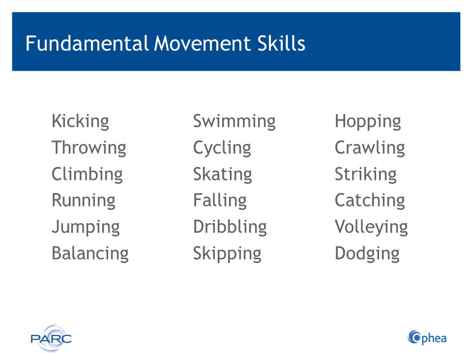 Fundamental Movement Skills KickingSwimmingHopping ThrowingCyclingCrawling ClimbingSkatingStriking RunningFallingCatching JumpingDribblingVolleying Ba