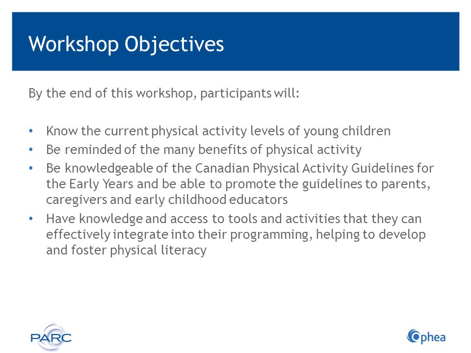 Workshop Objectives By the end of this workshop, participants will: Know the current physical activity levels of young children Be reminded of the man