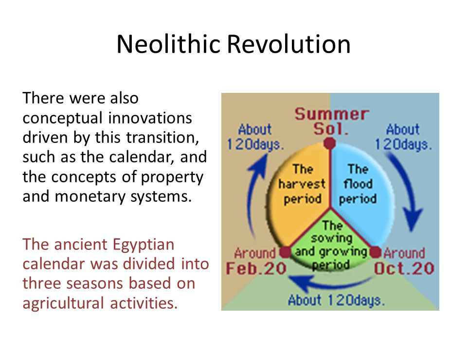 Neolithic Revolution There were also conceptual innovations driven by this transition, such as the calendar, and the concepts of property and monetary