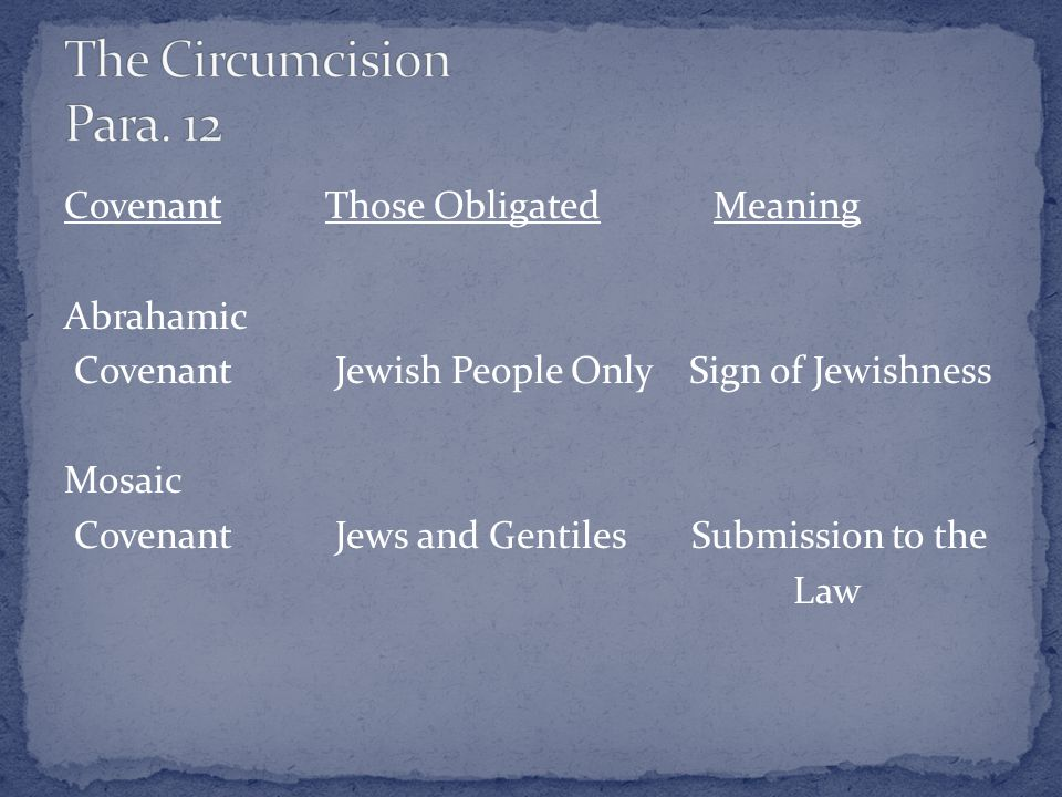Covenant Those Obligated Meaning Abrahamic Covenant Jewish People Only Sign of Jewishness Mosaic Covenant Jews and Gentiles Submission to the Law