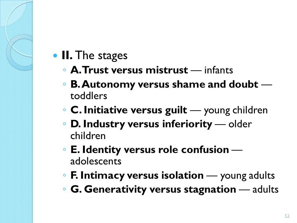 II. The stages ◦ A. Trust versus mistrust — infants ◦ B. Autonomy versus shame and doubt — toddlers ◦ C. Initiative versus guilt — young children ◦ D.