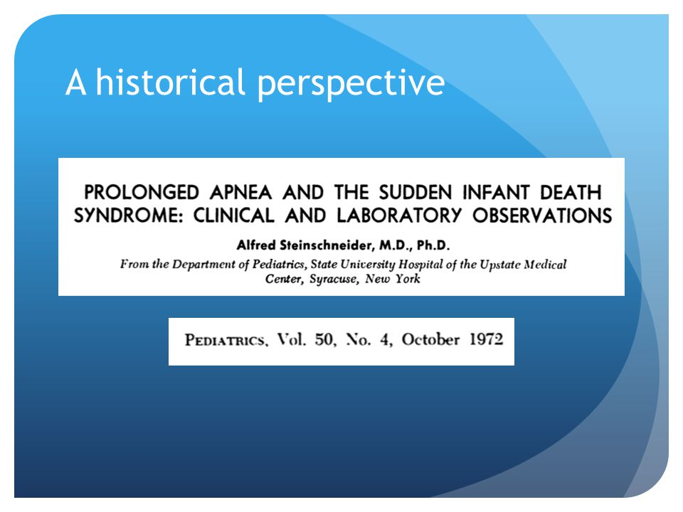 The hypothesis implicating prolonged apnea during sleep is causally related to SIDS underscores the need for further research directed toward a greater understanding of the variables influencing the occurrence of sleep apnea… 2 decades later – evidence of infanticide for all 5 infants became known