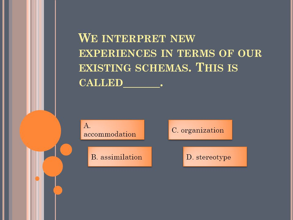 W E INTERPRET NEW EXPERIENCES IN TERMS OF OUR EXISTING SCHEMAS.