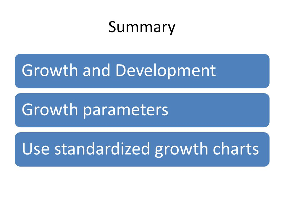 Summary Growth and DevelopmentGrowth parametersUse standardized growth charts