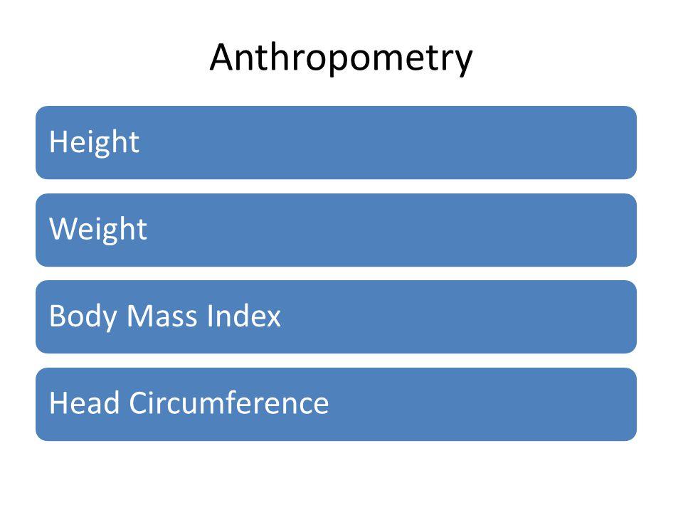 Anthropometry HeightWeightBody Mass IndexHead Circumference