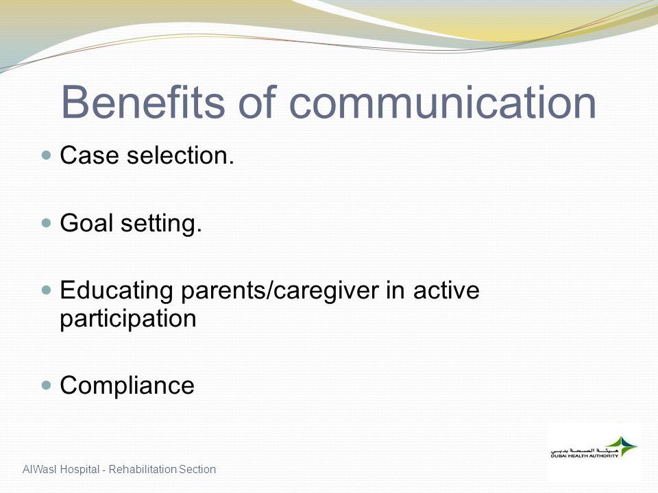 Benefits of communication Case selection.Goal setting.