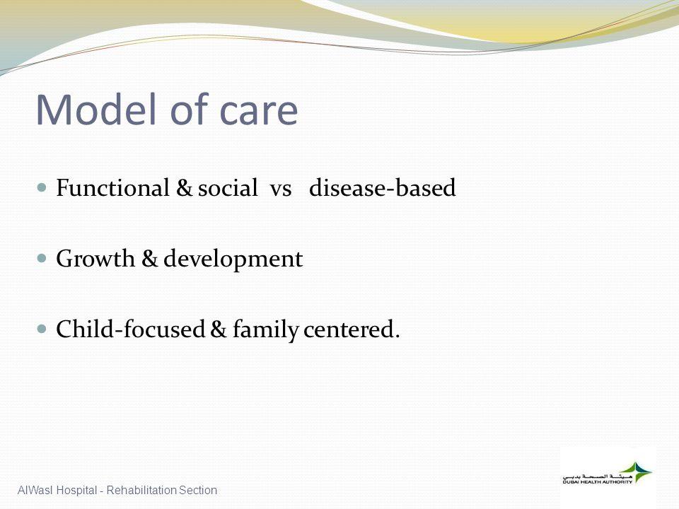 Model of care Functional & social vs disease-based Growth & development Child-focused & family centered.
