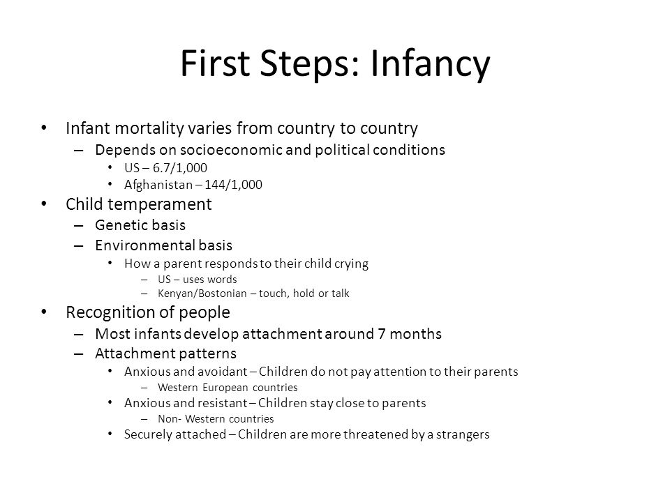 First Steps: Infancy Infant mortality varies from country to country – Depends on socioeconomic and political conditions US – 6.7/1,000 Afghanistan –