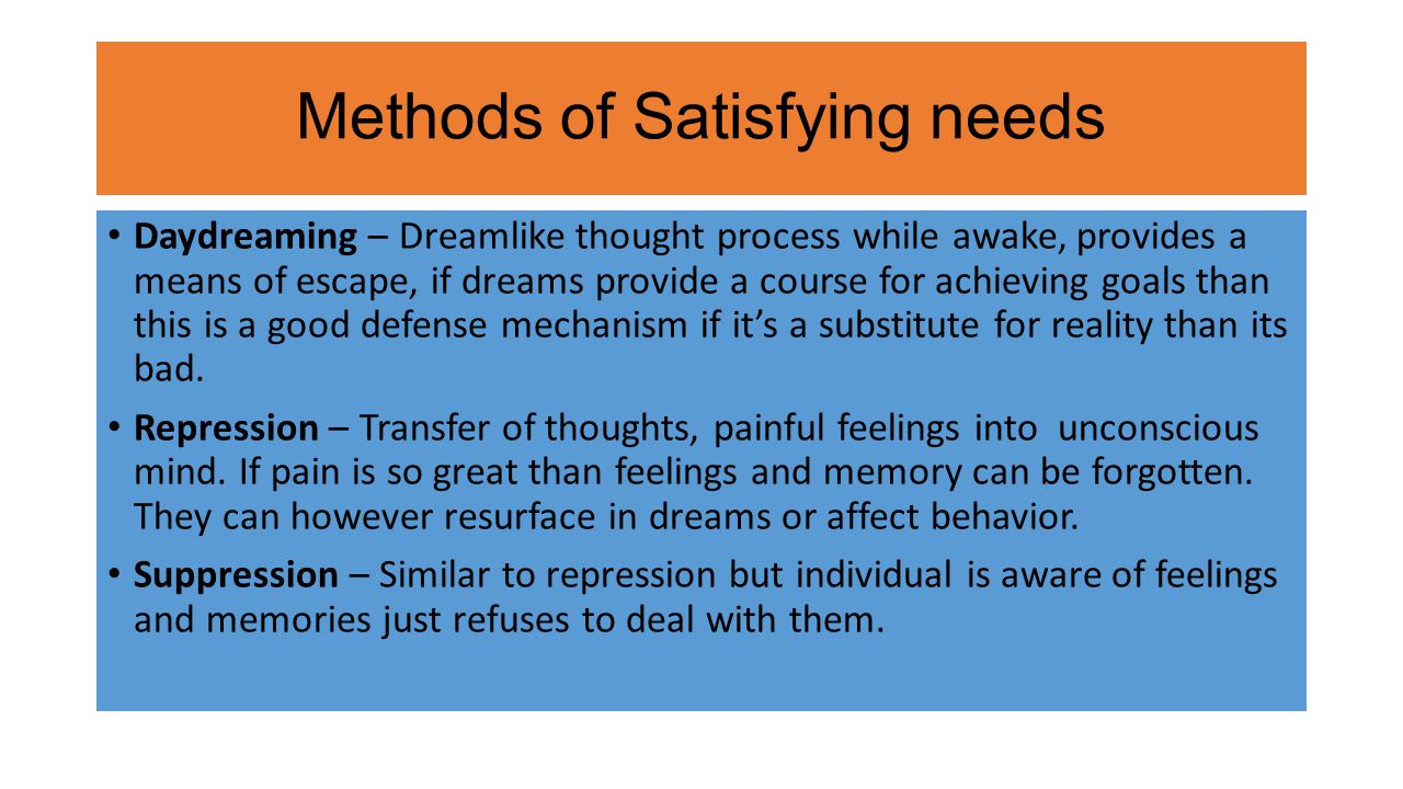 Methods of Satisfying needs Daydreaming – Dreamlike thought process while awake, provides a means of escape, if dreams provide a course for achieving goals than this is a good defense mechanism if it's a substitute for reality than its bad.