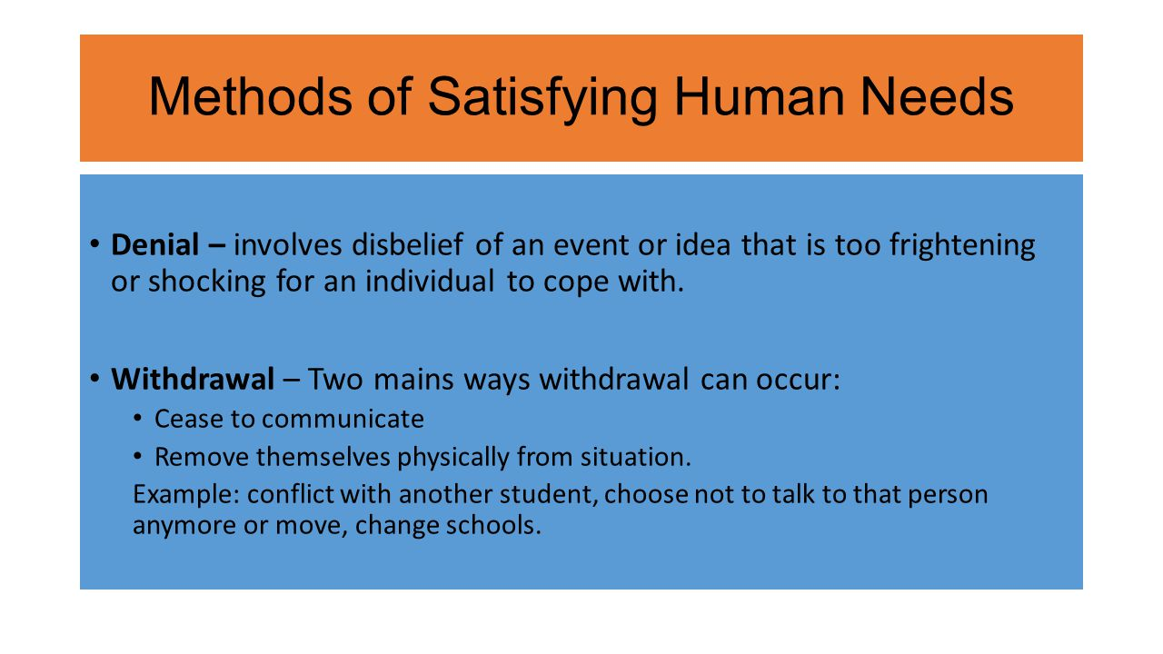 Methods of Satisfying Human Needs Denial – involves disbelief of an event or idea that is too frightening or shocking for an individual to cope with.