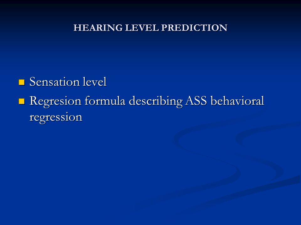 HEARING LEVEL PREDICTION Sensation level Sensation level Regresion formula describing ASS behavioral regression Regresion formula describing ASS behavioral regression