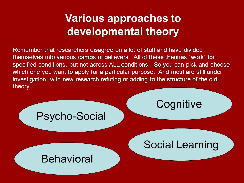 Psychoanalytic approaches – more focused on emotion and personality rather than learning and cognitive development.