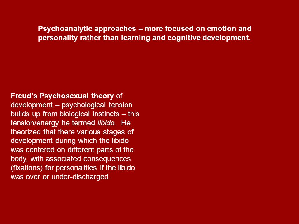 Psycho-sexual stages of development a.