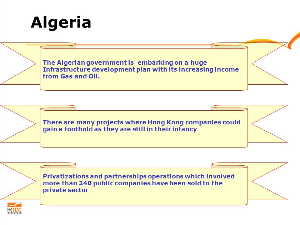 Algeria The Algerian government is embarking on a huge Infrastructure development plan with its increasing income from Gas and Oil.