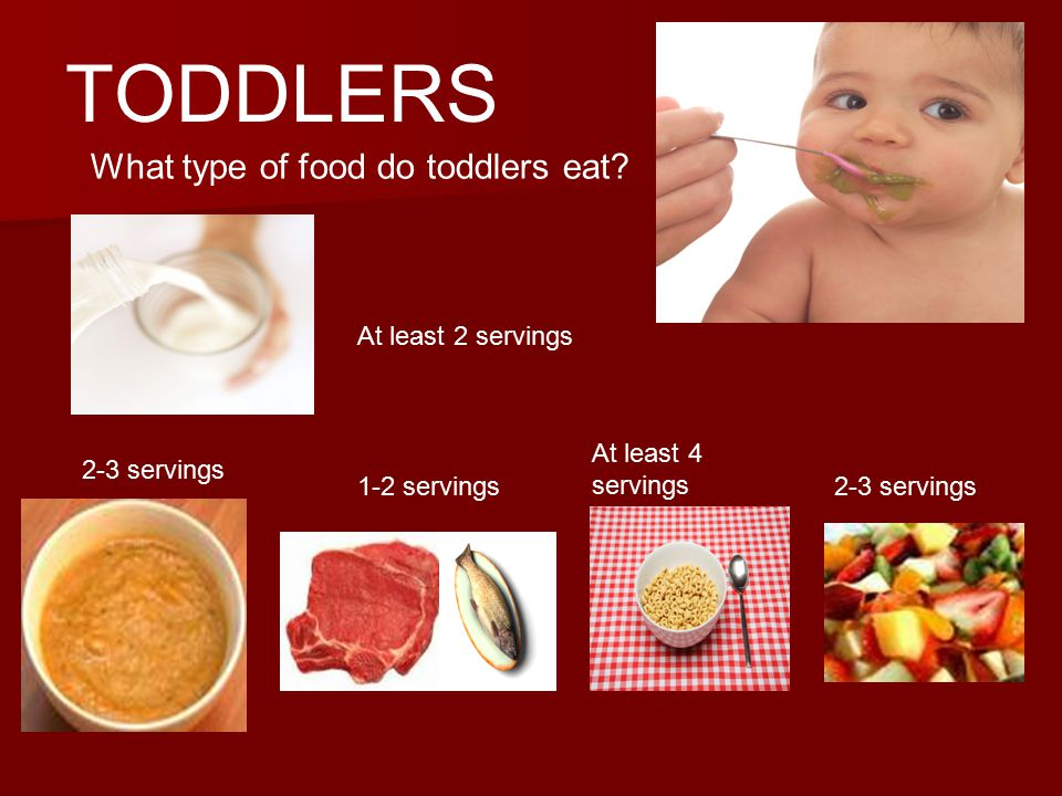 TODDLERS What type of food do toddlers eat.