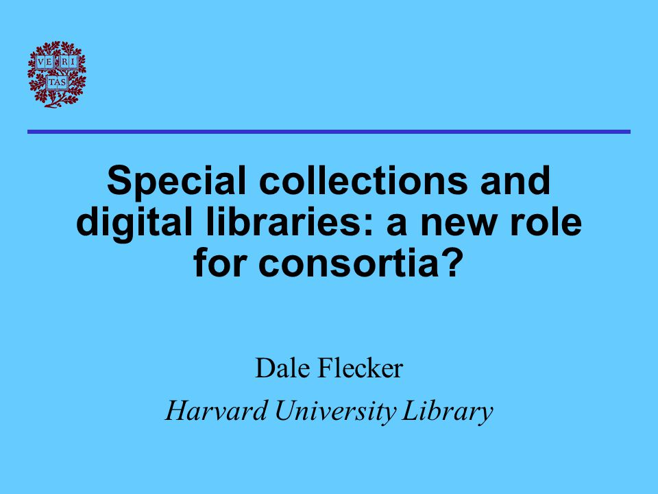Intersection *Development of library technology * Purpose of consortia * Nature of special collections