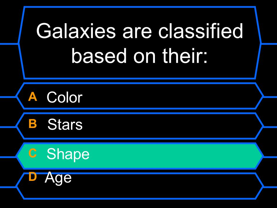 Galaxies are classified based on their: A Color B Stars C Shape D Age
