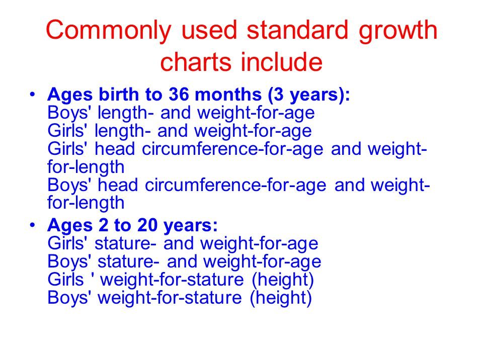 Commonly used standard growth charts include Ages birth to 36 months (3 years): Boys length- and weight-for-age Girls length- and weight-for-age Girls head circumference-for-age and weight- for-length Boys head circumference-for-age and weight- for-length Ages 2 to 20 years: Girls stature- and weight-for-age Boys stature- and weight-for-age Girls weight-for-stature (height) Boys weight-for-stature (height)
