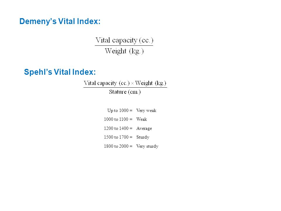 Demeny's Vital Index: Spehl's Vital Index: Up to 1000 =Very weak 1000 to 1100 =Weak 1200 to 1400 =Average 1500 to 1700 =Sturdy 1800 to 2000 =Very sturdy