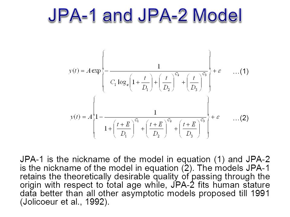 JPA-1 is the nickname of the model in equation (1) and JPA-2 is the nickname of the model in equation (2).