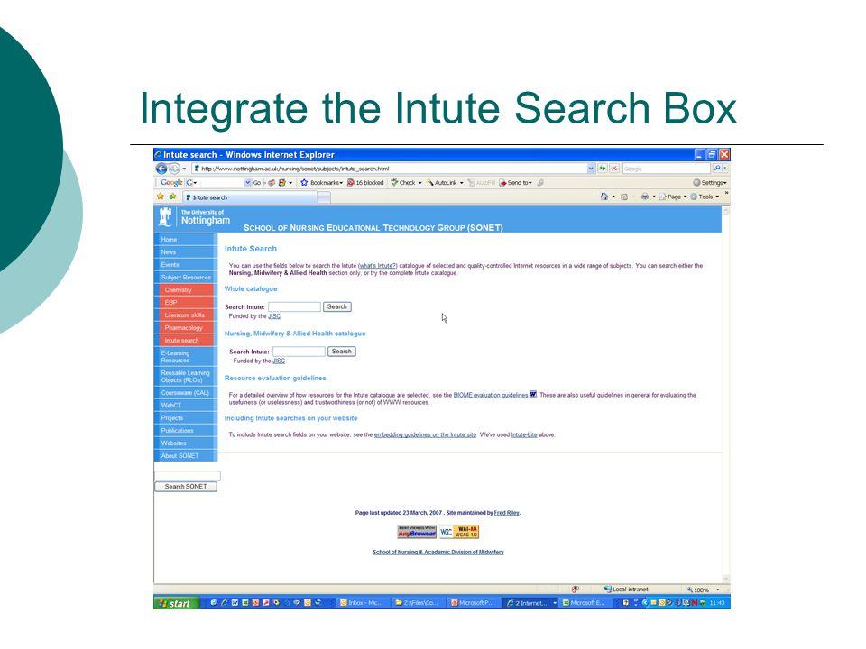 Integrate the Intute Search Box