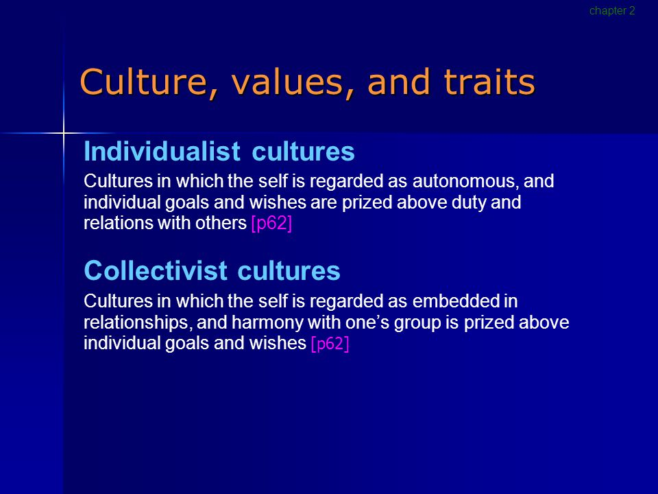 Culture, values, and traits Individualist cultures Cultures in which the self is regarded as autonomous, and individual goals and wishes are prized above duty and relations with others [p62] Collectivist cultures Cultures in which the self is regarded as embedded in relationships, and harmony with one's group is prized above individual goals and wishes [p62] chapter 2