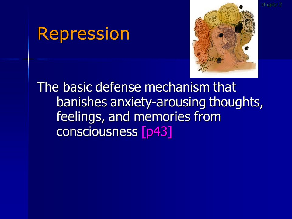 Repression The basic defense mechanism that banishes anxiety-arousing thoughts, feelings, and memories from consciousness [p43] chapter 2