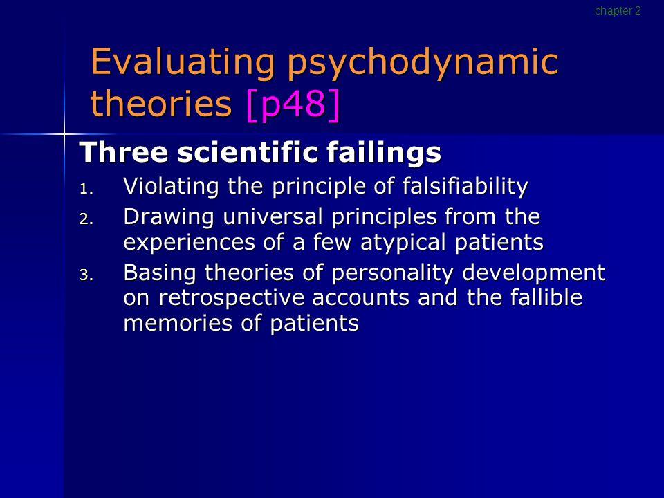 Evaluating psychodynamic theories [p48] Three scientific failings 1.