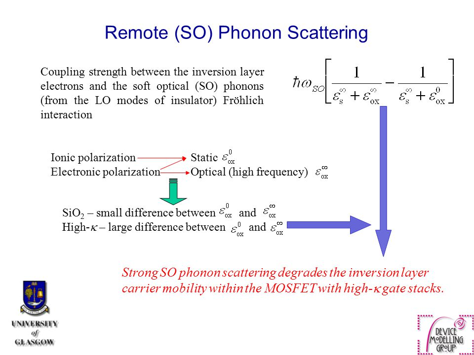 Coupling strength between the inversion layer electrons and the soft optical (SO) phonons (from the LO modes of insulator) Fröhlich interaction Ionic