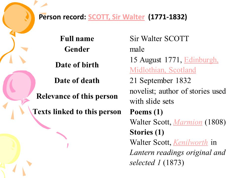 Full nameSir Walter SCOTT Gendermale Date of birth 15 August 1771, Edinburgh, Midlothian, ScotlandEdinburgh, Midlothian, Scotland Date of death21 September 1832 Relevance of this person novelist; author of stories used with slide sets Texts linked to this person Poems (1) Walter Scott, Marmion (1808) Stories (1) Walter Scott, Kenilworth in Lantern readings original and selected 1 (1873)MarmionKenilworth Person record: SCOTT, Sir Walter (1771-1832)SCOTT, Sir Walter