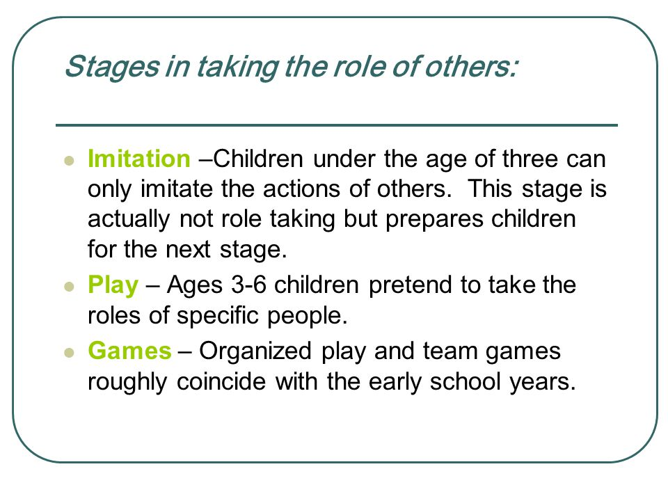 Stages in taking the role of others: Imitation –Children under the age of three can only imitate the actions of others.