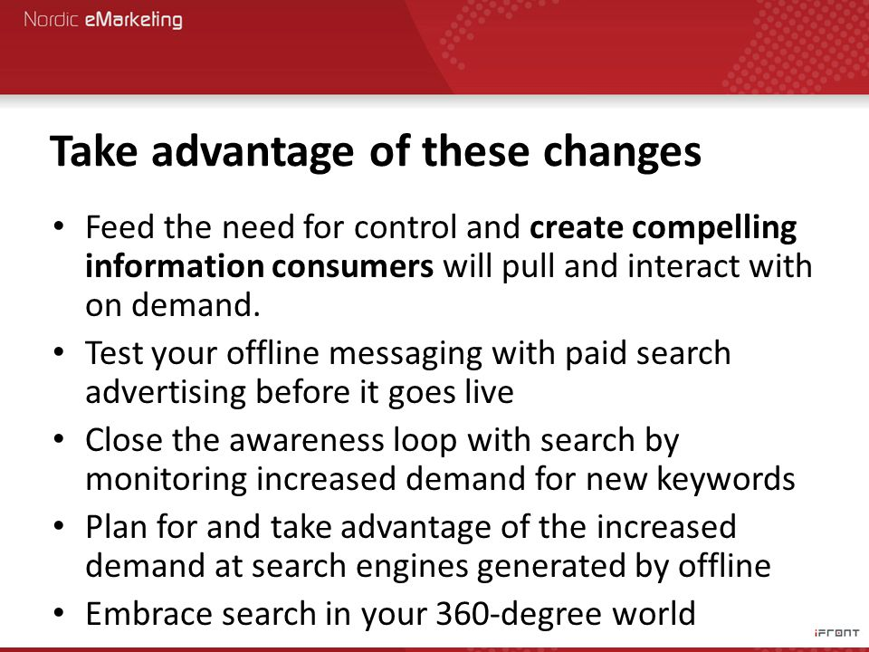 Take advantage of these changes Feed the need for control and create compelling information consumers will pull and interact with on demand.