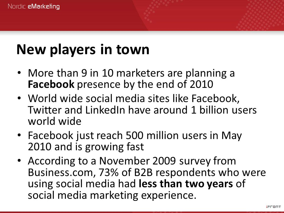 New players in town More than 9 in 10 marketers are planning a Facebook presence by the end of 2010 World wide social media sites like Facebook, Twitter and LinkedIn have around 1 billion users world wide Facebook just reach 500 million users in May 2010 and is growing fast According to a November 2009 survey from Business.com, 73% of B2B respondents who were using social media had less than two years of social media marketing experience.