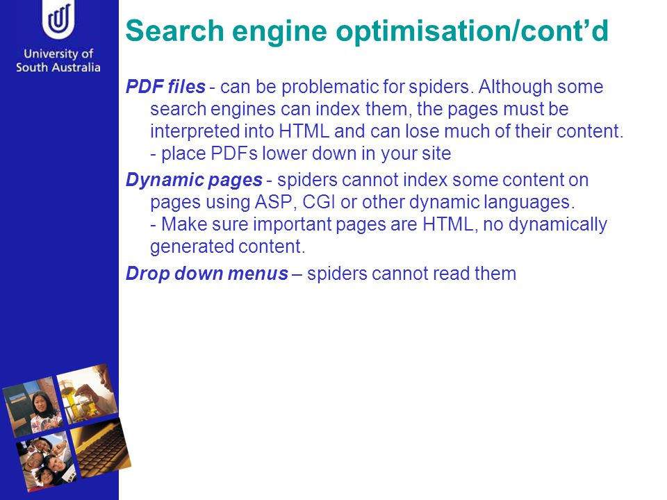 Search engine optimisation/cont'd PDF files - can be problematic for spiders.