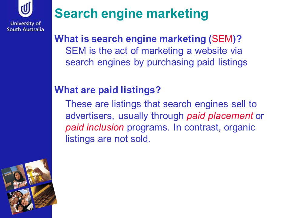 Search engine marketing What is search engine marketing (SEM).