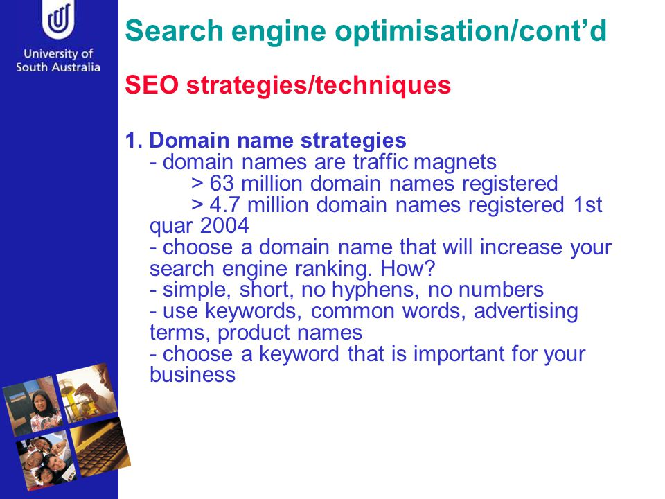 Search engine optimisation/cont'd SEO strategies/techniques 1.