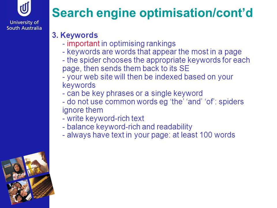 Search engine optimisation/cont'd 3.