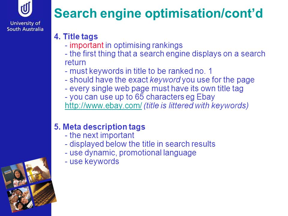 Search engine optimisation/cont'd 4.