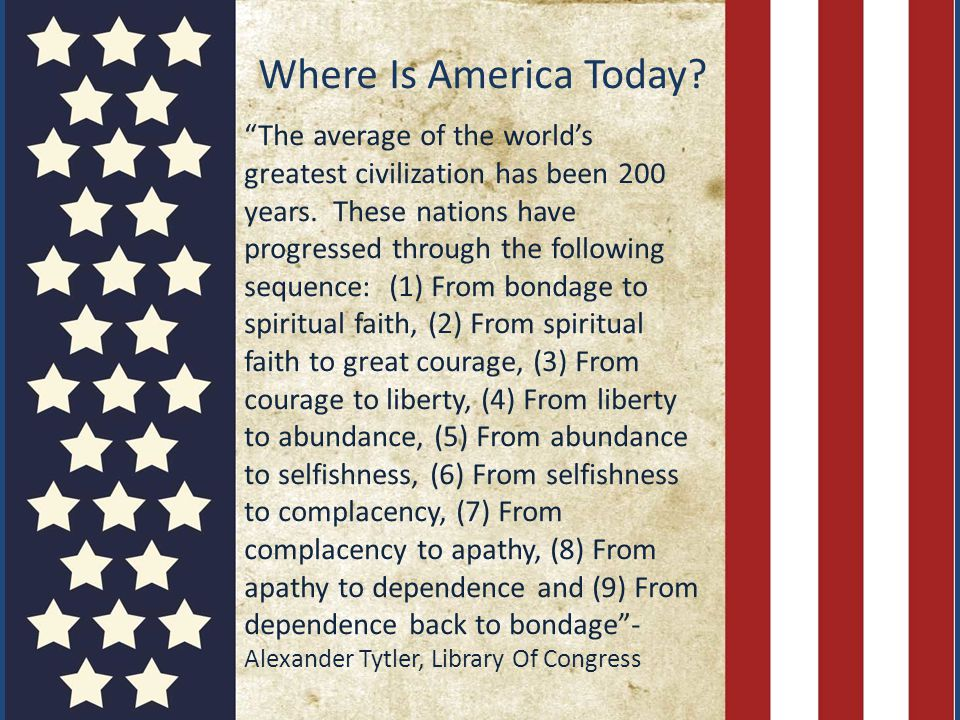 Where Is America Today. The average of the world's greatest civilization has been 200 years.