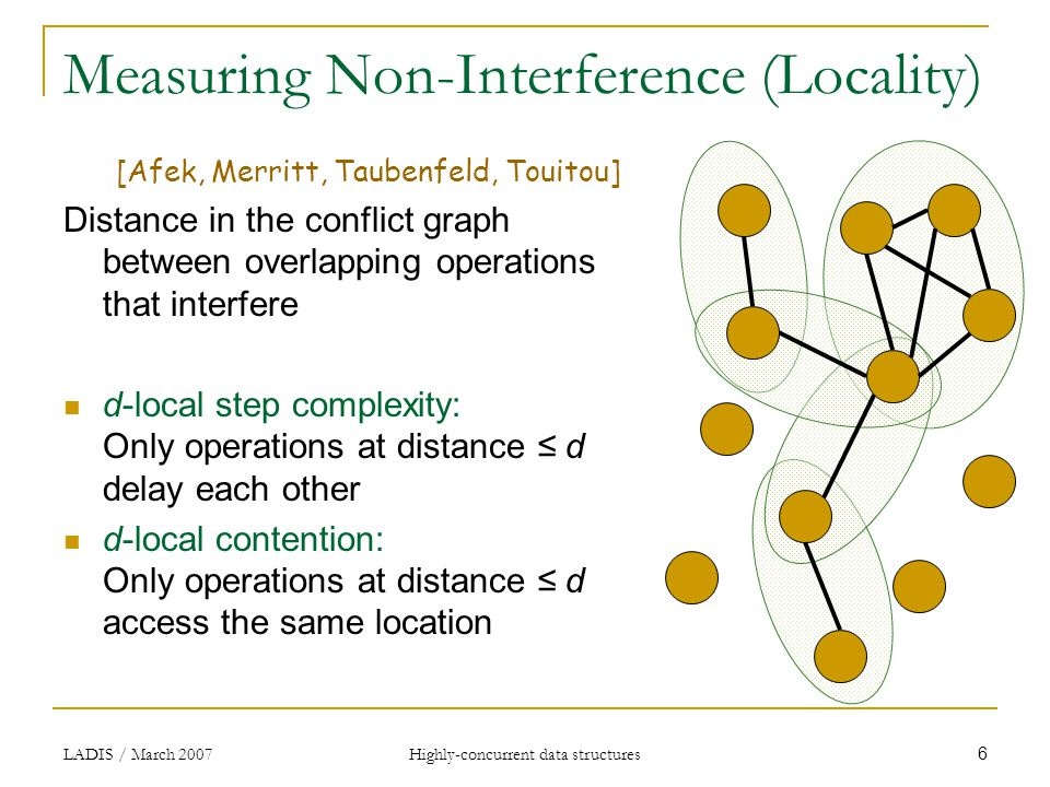 LADIS / March 2007Highly-concurrent data structures 6 Measuring Non-Interference (Locality) [Afek, Merritt, Taubenfeld, Touitou] Distance in the conflict graph between overlapping operations that interfere d-local step complexity: Only operations at distance ≤ d delay each other d-local contention: Only operations at distance ≤ d access the same location