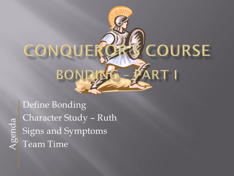 Define Bonding Character Study – Ruth Signs and Symptoms Team Time Agenda