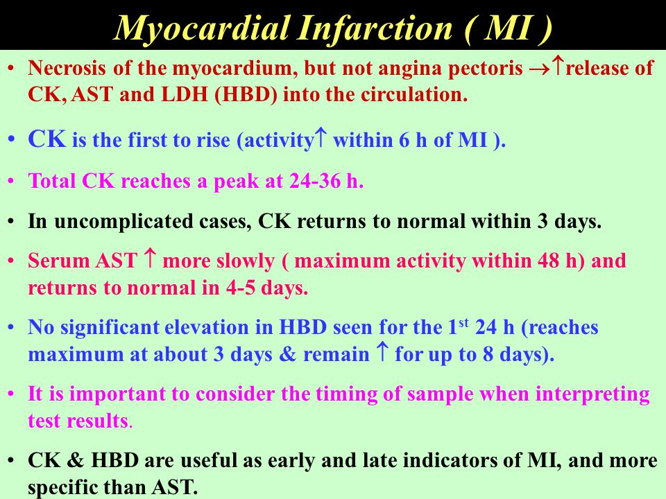 Myocardial Infarction ( MI ) Necrosis of the myocardium, but not angina pectoris  release of CK, AST and LDH (HBD) into the circulation. CK is the f