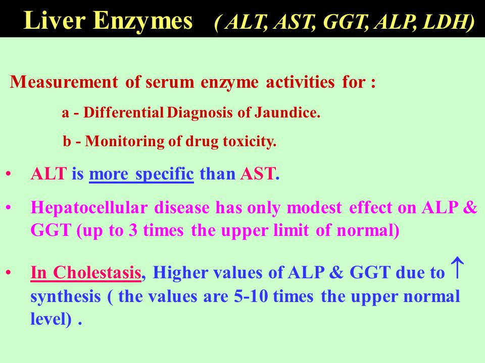 Measurement of serum enzyme activities for : a - Differential Diagnosis of Jaundice. b - Monitoring of drug toxicity. ALT is more specific than AST. H