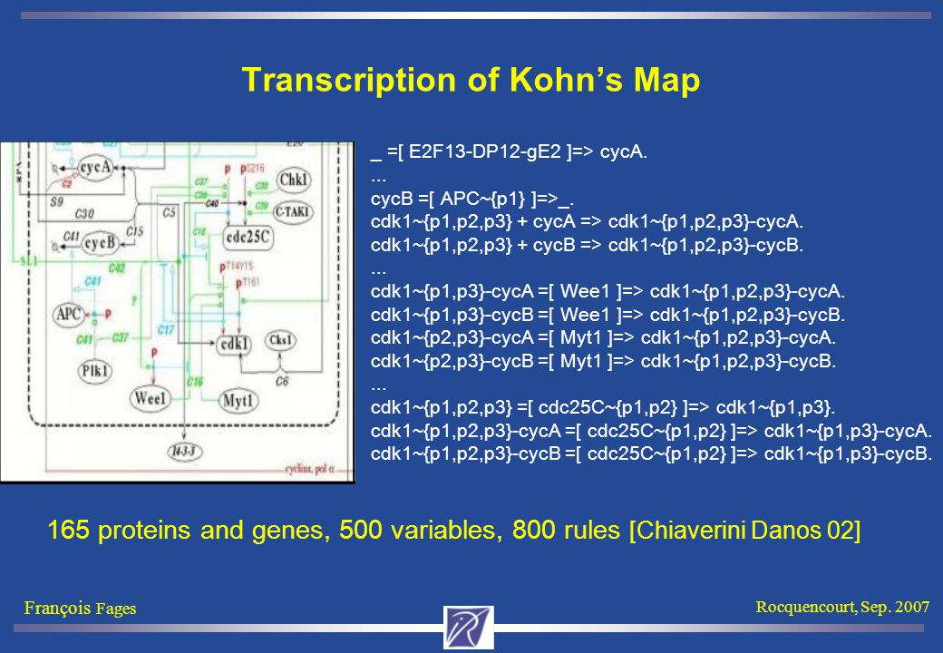 François Fages Rocquencourt, Sep. 2007 Transcription of Kohn's Map _ =[ E2F13-DP12-gE2 ]=> cycA....